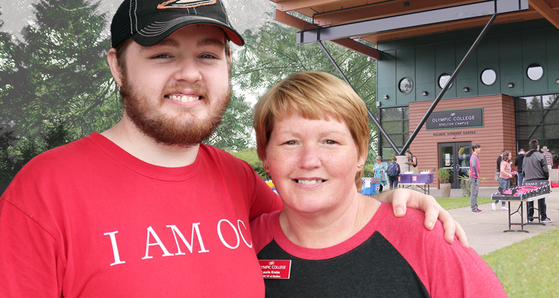 OC student Laurie Krebs and her son, Cody, pose outside the OC Shelton campus.