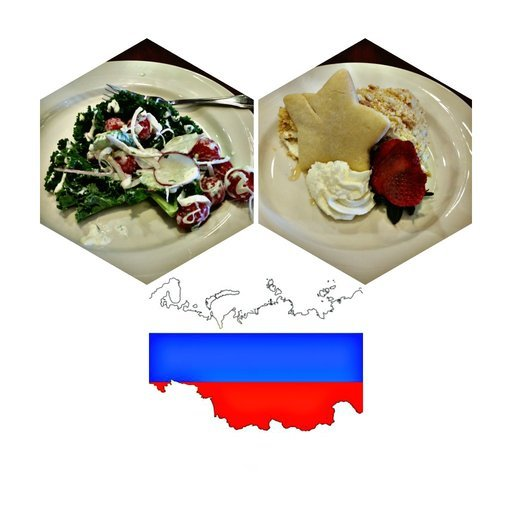 Salad, Desert and Russia flag
