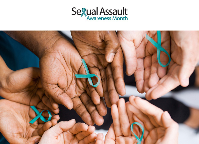 Group of diverse hands holding teal ribbons for Sexual Assault Awareness Month