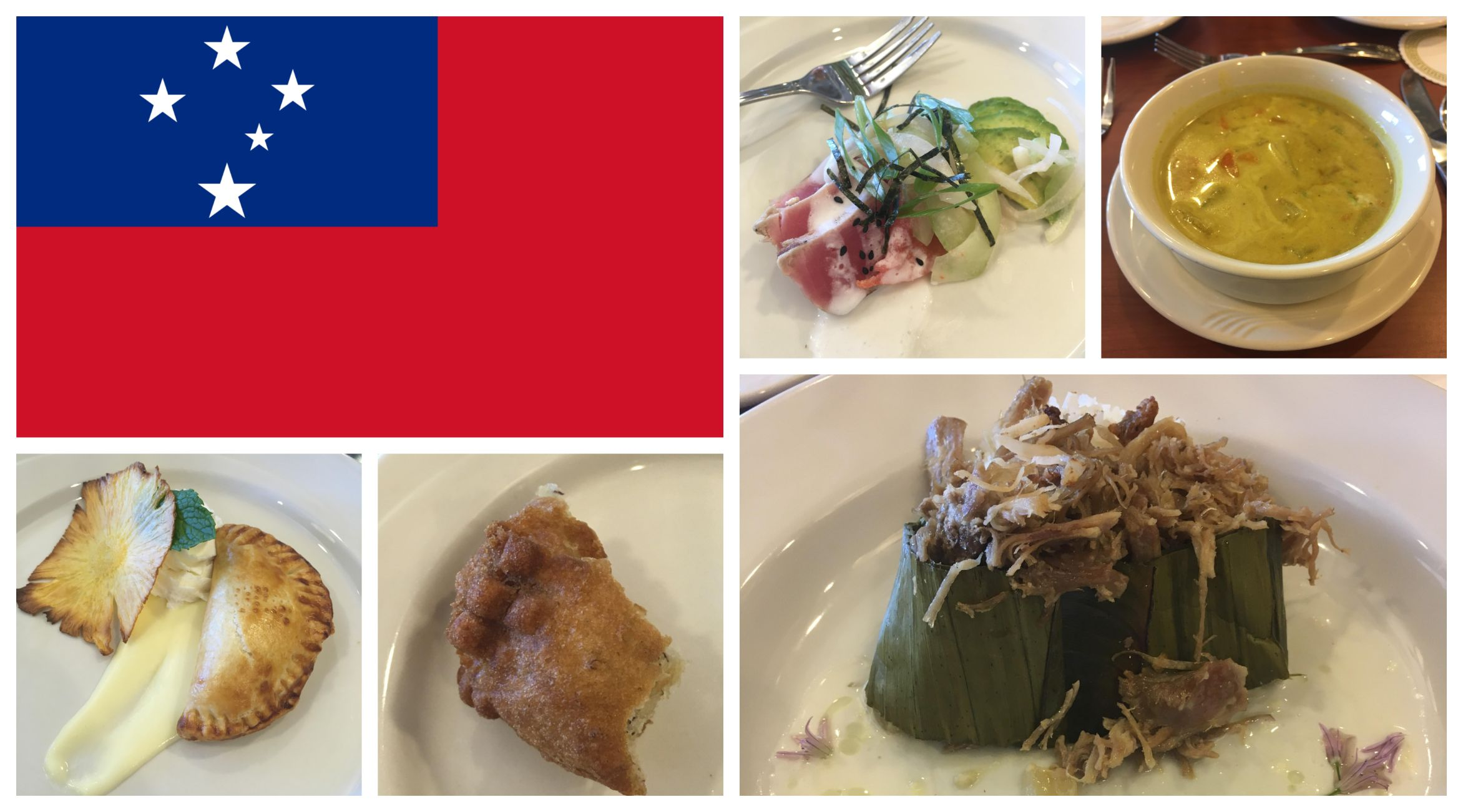 samao flag with samao dishes including soup, desert, pastries, and more