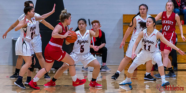 Olympic College Women's Basketball playing defense