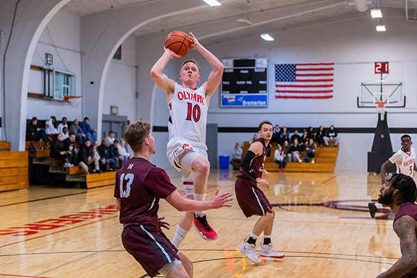 Olympic College men's basketball athlete Russell Wheldon pulls up for a jumper