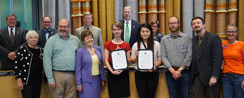 OC Art Students Gretchen Lund and Lisa Jet-Yeng Zhu with Bremerton Mayor and City Council.