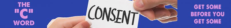 hands holding a card with the word 'consent' on it.