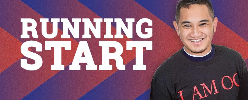 Running Start. Smiling OC Student with red and blue gradiant chevron background