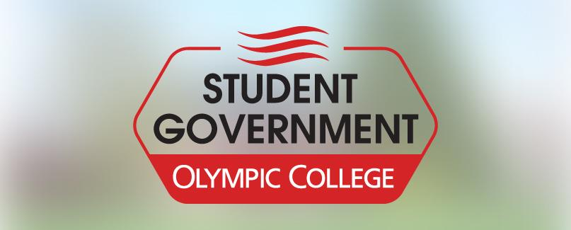 Student Government of Olympic College logo  against a blurred background