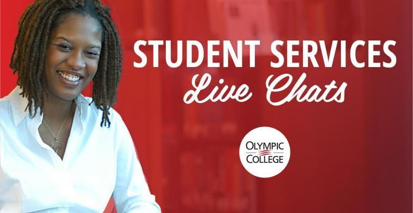 Student Services Live Chat. Olympic College. Smiling student.