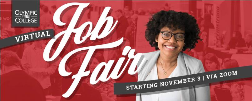 Smiling Student with red overlay of student collage. Text: Olympic College Virtual Job Fair starting Nov 3 via Zoom
