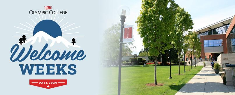 Olympic College Welcome Weeks logo to the left of a sidewalk lined with trees