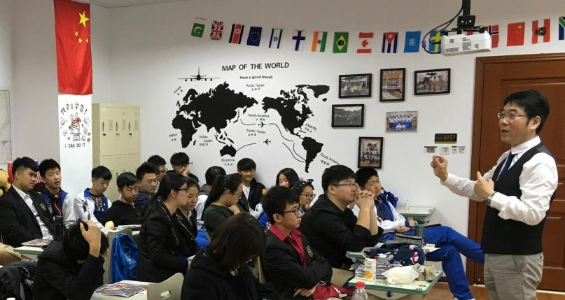 OC representative Mr. Gordon Wong of H & B Consulting talking to perspective OC students in China!