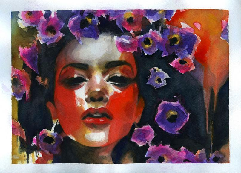 Painted image of a woman with flowers in her hair