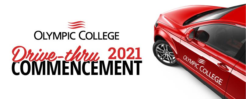 Red car indicating Olympic College Drive-thru 2021 Commencement