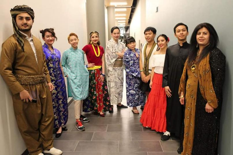 A picture of students in their traditional clothing