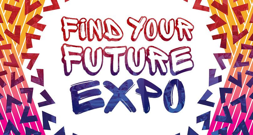 "A clorful image with ""Find Your Future Expo"" written on it."