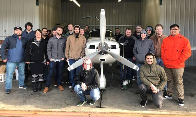 ME Students with airplane