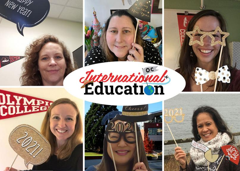 A Photo of Staff from Student Service Division with New Year Props