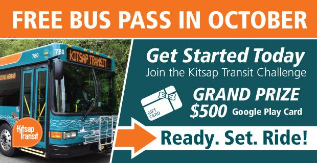 Kitsap Transit Free Buss Pass in October - Join the Kitsap Transit Challenge for a Chance to Win a $500 Gift Card