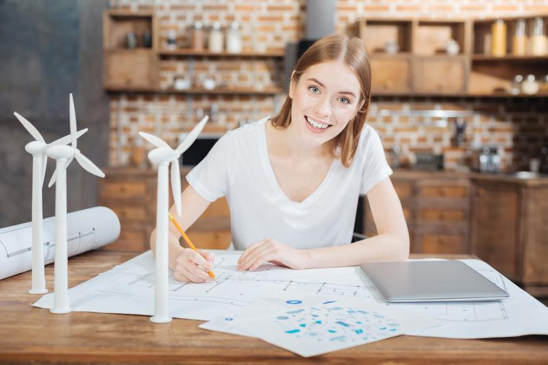 woman engineer at desk