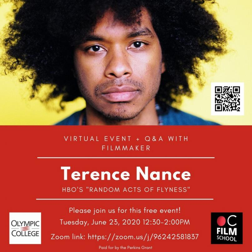 """Flyer for Virtual Event and Q&A With filmmaker Terence Nance from the HBO show """"Random Acts of Flyness"""""""