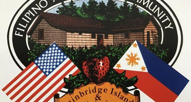 Logo feauring the Filipino American Community Hall, a strawberry, a Filipino flag and an American flag