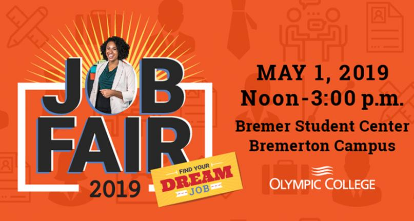 Image of student, job related icons, and text Find Your Dream Job - Job Fair - May 1. Ticket for Dress for Success drawing.