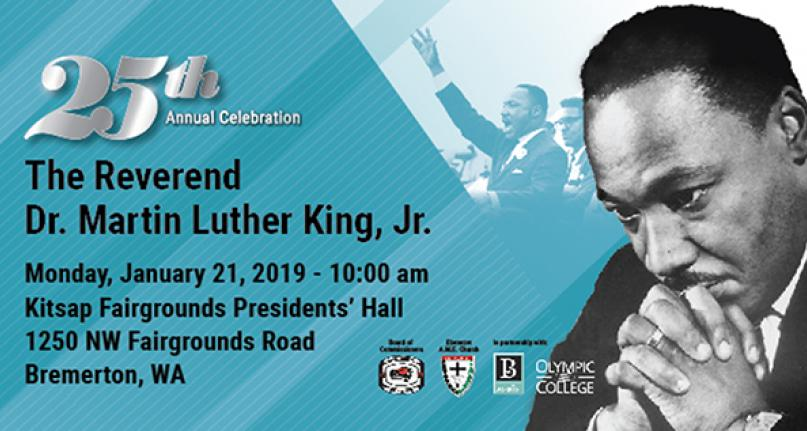 Background - MLK waving to crowd. Monday, Jan. 21, 10 a.m. Kitsap Fairgrounds Presidents Hall
