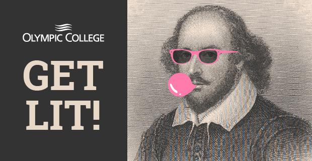 Olympic College. Get Lit!  image of man blowing bubble gum.