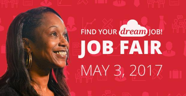 Image of student, job related icons, and the text Find Your Dream Job - Job Fair - May 3, 2017