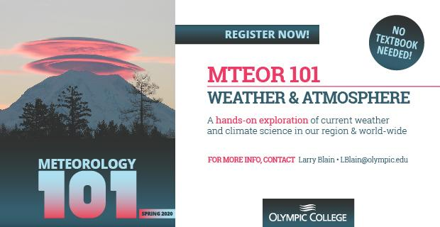 Colorful clouds hovering over a mountain in the background and forest in the front. Register Now MTEOR101