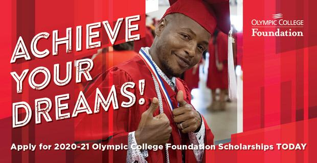 Acheive your dreams! overlay on OC student granduating Olympic College