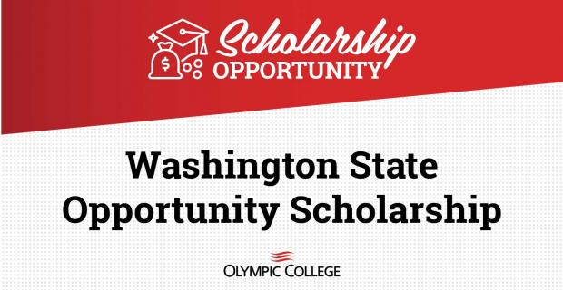 Red background white text reads Scholorship Opportunity. White background black text reads WA State Opportunity Scholarship