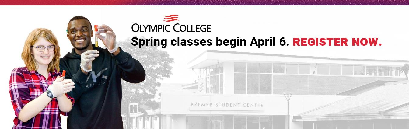 Smiling Male and female student with BSC light grey background. Olympic College Spring Classes begin April. Register Now.