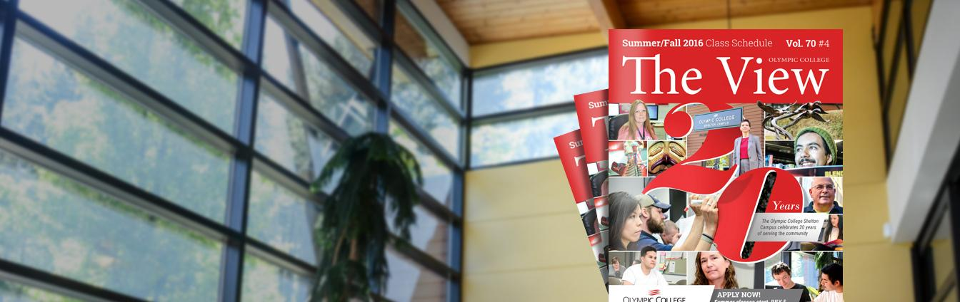 Stack of Summer/Fall View booklets over background image of Shelton campus