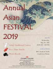 Annual Asian Festival 2019 as a poster with water wave as its background and some information related to the event such as games