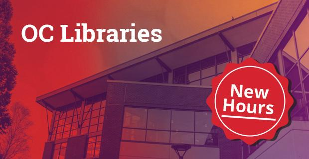 Haselwood Library with red and blue overlay and new hours button.