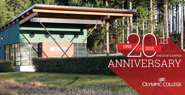 Shelton Campus building in front of trees with the 20th Anniversary Shelton Campus 1995-2015 graphic.