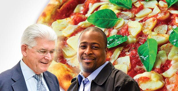 Pizza with the Presidents - Image of Dr. Mitchell, Drayton Jackson, and a pizza
