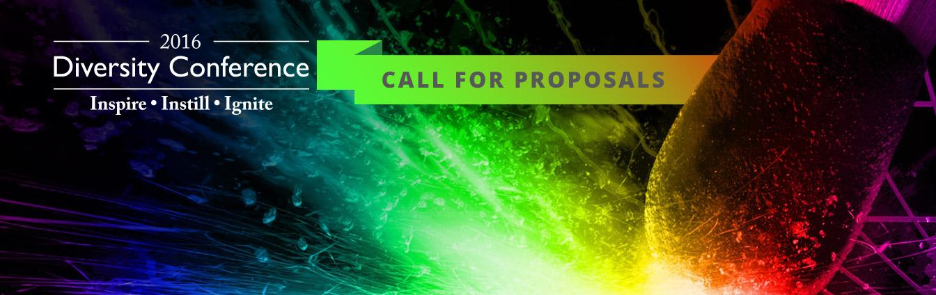 An image of a match with many colorful sparks and graphics displaying 2016 Diversity Conference - Inspire, Instill, Ignite - Call for Proposals